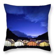 Tents Illuminated In A Valley At Night Throw Pillow