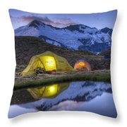Tents Lit By Flashlight On Cascade Throw Pillow