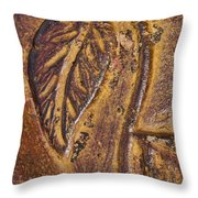 Terracotta Raised Relief Pottery Leaf Throw Pillow