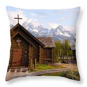 Teton Chapel Throw Pillow