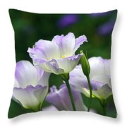 Texas Bluebell And Turquoise Visitor Throw Pillow