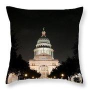 Texas Capitol Building At Night - Horz Throw Pillow