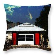 Texas Garage Throw Pillow