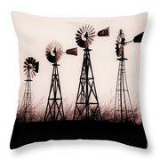 Texas Windmills Throw Pillow by Tamyra Ayles
