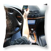 Texting And Driving Throw Pillow