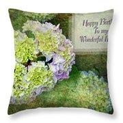 Textured Hydrangeas Birthday Mother Greeting Card Throw Pillow
