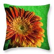 Textured Orange Flower Throw Pillow