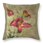 Textured Red Daylilies Throw Pillow