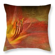 Textured Red Daylily Throw Pillow