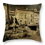 Textured Square With Fountain Throw Pillow