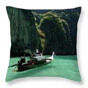 Thai Long Tail Boat  Throw Pillow