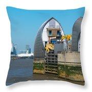 Thames Barrier Throw Pillow