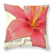 Thank You Card - Pink Lily Throw Pillow