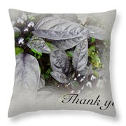 Thank You Card - Silver Leaves And Berries Throw Pillow
