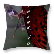 Thank You Card - Butterfly Throw Pillow