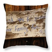 Thank You For Supporting Our Family Farm Throw Pillow