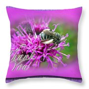 Thank You Greeting Card - Bumblebee On Ironweed Throw Pillow