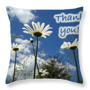 Thank You Greeting Card - Oxeye Daisy Wildflowers Throw Pillow