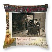 Thanksgiving Card, 1909 Throw Pillow