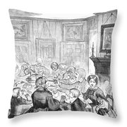 Thanskgiving Dinner, 1857 Throw Pillow