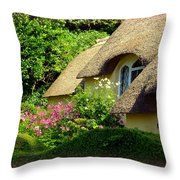 Thatched Cottage With Pink Flowers Throw Pillow