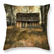 Thatched Roof Cottage In The Woods Throw Pillow