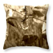 Thawing Sepia Leaves Throw Pillow