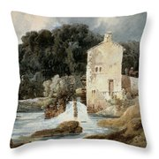 The Abbey Mill - Knaresborough Throw Pillow