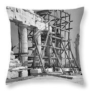 The Acropolis.  The Parthenon.  One Throw Pillow