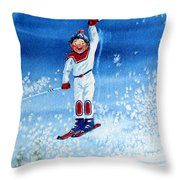 The Aerial Skier 15 Throw Pillow