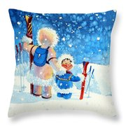 The Aerial Skier - 4 Throw Pillow by Hanne Lore Koehler