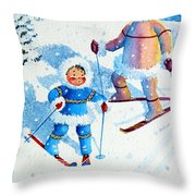 The Aerial Skier - 6 Throw Pillow by Hanne Lore Koehler