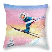 The Aerial Skier - 7 Throw Pillow