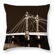 The Albert Bridge London Sepia Toned Throw Pillow