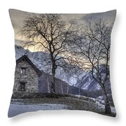 The Alps In Winter Throw Pillow