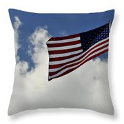 The American Flag Blowing In The Breeze Throw Pillow