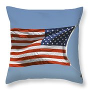 The American Flag Waves At Half-mast Throw Pillow
