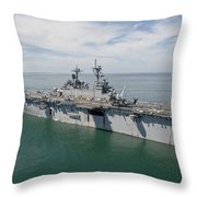 The Amphibious Assault Ship Uss Wasp Throw Pillow