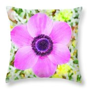 The Anemone Is So Pink Throw Pillow