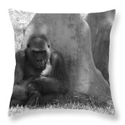 The Angry Ape In Black And White Throw Pillow