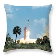 The Apollo 16 Space Vehicle Is Launched Throw Pillow