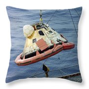 The Apollo 8 Capsule Being Hoisted Throw Pillow