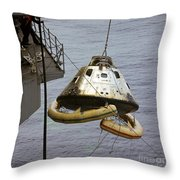 The Apollo 9 Command Module Is Hoisted Throw Pillow