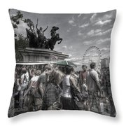 The Attack Of The Zombie Tourists Throw Pillow
