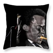 The Back And The Affront Of Miles Davis Throw Pillow