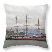 The Balclutha Ship And Alcatraz Island Throw Pillow