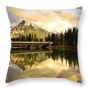 The Banff Bridge Reflected Throw Pillow
