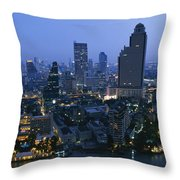The Bangkok Skyline At Dusk Throw Pillow