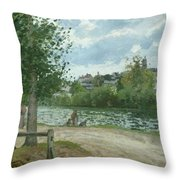 The Banks Of The Oise At Pontoise Throw Pillow