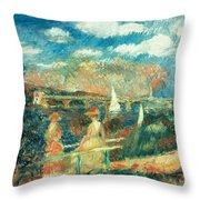 The Banks Of The Seine At Argenteuil Throw Pillow